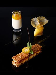 Stylish desserts by the Chef Jérôme Manifacier and the Pastry Chef Emmanuel Lebled for the restaurant of the hotel de la Paix in Geneva.