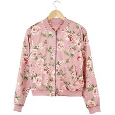 Mavis Floral Print Bomber Jacket (2.045 RUB) ❤ liked on Polyvore featuring outerwear, jackets, floral print bomber jacket, flower print bomber jacket, pink bomber jacket, flower print jacket and bomber jacket