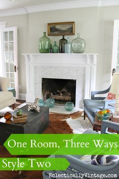 One Room - Styled 3 Different Ways!  No money spent - and the looks are so unique!  Plus - see 6 other rooms doing the same 3 way look!  eclecticallyvintage.com