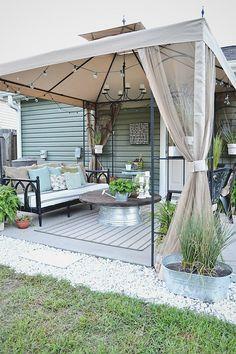 Patio Diy, Patio Pergola, Small Backyard Patio, Budget Patio, Backyard Patio Designs, Backyard Ideas, Porch Ideas, Pergola Kits, Landscaping Ideas