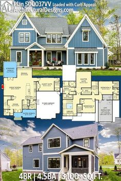 Architectural Designs Exclusive House Plan has gives you 4 beds, baths and square feet of heated living space. Where do YOU want to build? I WANT THIS HOUSE The Plan, How To Plan, Dream House Plans, My Dream Home, Dream Houses, Style At Home, House Layouts, House Goals, Future House