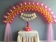 Custom age balloon centerpiece. Pink 14 inch number. Kit includes balloons, instructions and link to directions.