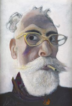 'Self Portrait in Gold-tinted Glasses' by John Byrne, 2016 (oil on arches paper)
