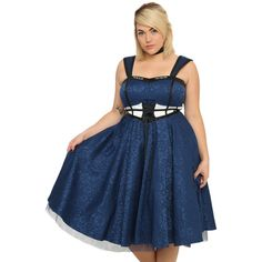 Hot Topic Doctor Who TARDIS Dress Plus Size (£54) ❤ liked on Polyvore featuring costumes, plus size womens costumes, plus size costumes, blue costume, blue halloween costume and plus size halloween costumes