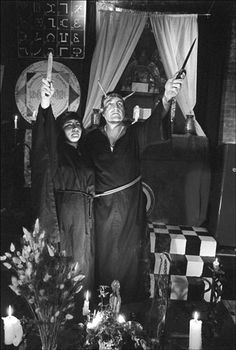 Herman Slater (Lord Govannon) and another witch perform rituals in his sanctuary at the Magickal Childe on W. 19th St., 1981