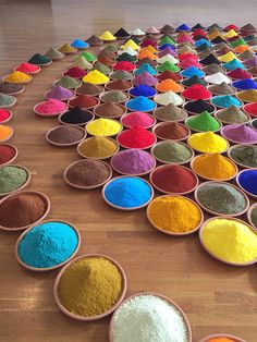 Pigments and spices become saturated piles of color in Sonia Falcone's Campo de Color.  At the Color Fields exhibit at Mass Art.