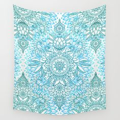 Turquoise+Blue,+Teal+&+White+Protea+Doodle+Pattern+Wall+Tapestry+by+Micklyn+-+$39.00
