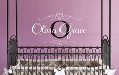 Personalized Childrens Decor Baby Nursery Monogram Vinyl Name Wall Decal, Vinyl Lettering Wall Art Decal by JustTheFrosting on Etsy https://www.etsy.com/listing/98938804/personalized-childrens-decor-baby