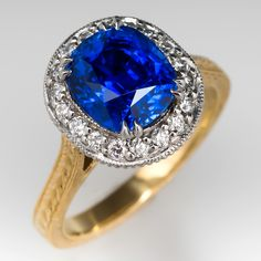 Custom 3.9 Carat Cushion Cut Sapphire Ring Platinum & 18K Gold