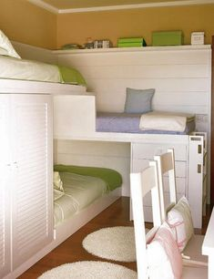 Three beds, lots of storage, one small space. Useful space for 3 kids sharing a bedroom. If there's 2 kids, they have extra space for a friend to sleep over.