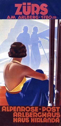 Vintage Retro Poster of the Hotel Alpenrose, located in Zürs am Arlberg, Austria Vintage Ski Posters, Cool Posters, Vintage Advertisements, Vintage Ads, S Ki Photo, Ski Card, Post Hotel, St Anton, Ski Wedding