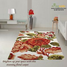 Brighten up your space with this stunning floral #Carpet.  #MaddHome #HomeDecor   Visit Our Website: https://www.maddhome.com/rugs-carpets.html