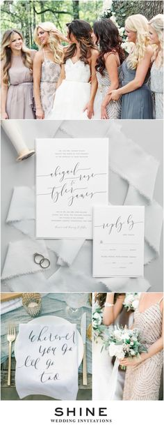 Gorgeous Dusty Blue Wedding Inspiration | Romantic Calligraphy Wedding Invitations | Parris Chic Boutique | Adrianna Papell Dress