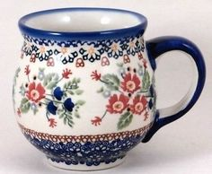 Polish Pottery Large 16 Ounce Bubble Mug Signature R268 Lidia Floral Christmas in Collectibles, Kitchen & Home, Kitchenware | eBay