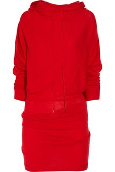 Donna Karen Hooded Wool dress $1295.   I don't give a damn if it is DK, I am not spending over a month's rent on a big red knit tube!  crazy!