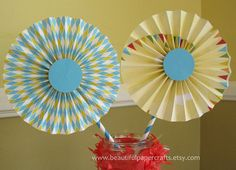 2 6 Circus Rosettes Centerpieces Paper by BeautifulPaperCrafts, $5.50