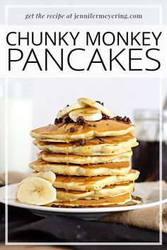 Fluffy pancakes loaded with bananas and mini-chocolate chips that your family (and kids) are sure to enjoy!