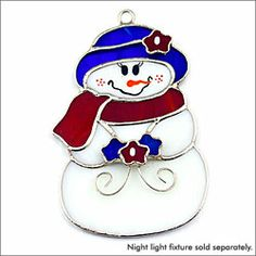 Snow Gal stained glass night and sun catcher Stained Glass Ornaments, Stained Glass Christmas, Stained Glass Suncatchers, Stained Glass Projects, Glass Christmas Ornaments, Stained Glass Art, Mosaic Glass, Fused Glass, Christmas Ideas