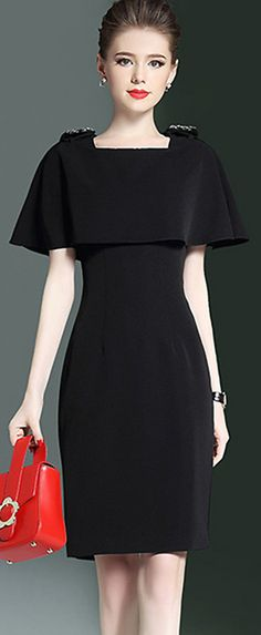Elegant Wear to Work Party Prom Bodycon Dress With Cape