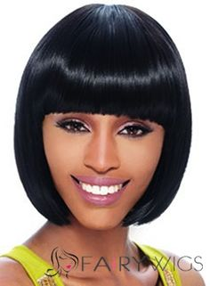 Quality Wigs Short Straight Black Full Bang African American Wigs for Women 12 Inch