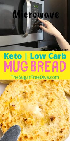 This easy recipe for keto low carb and sugar free bread can be made in the microwave in just a few minutes! Emjoy this diet friendly bread for breakfast, lunch, dinner, snacks or any time of the day! Best Bread Recipe, Bread Recipes, Low Carb Recipes, Cooking Recipes, Best Vegetable Recipes, Homemade Vegetable Soups, Easy Snacks, Easy Meals, Healthy Baking