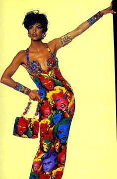 "Linda Evangelista in the Andy Warhol inspired ""Marilyn"" dress by Gianni Versace"