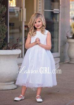 White Lace Flower Girl Dress White Flower Girl Dresses, Lace Flower Girls, Lace Bows, Lace Bodice, White Lace, Tulle, Wedding Dresses, Beautiful, Fashion