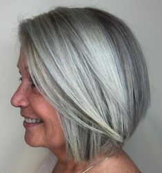 Sleek Gray Bob Embrace the gray with a subtle balayage that brings dimension to your strands. The popular coloring will accentuate your hair's high and low notes. Pair that with a sleek bob and you're a bonafide silver fox. Dear ladies, we know how imp Short Hair Older Women, Haircut For Older Women, Pixie Hairstyles, Short Hairstyles For Women, Gray Hairstyles, Bob Haircuts, Classy Hairstyles, Pretty Hairstyles, Subtle Balayage