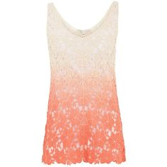 Cameo Rose Pink Ombre Crochet Vest ($26) ❤ liked on Polyvore