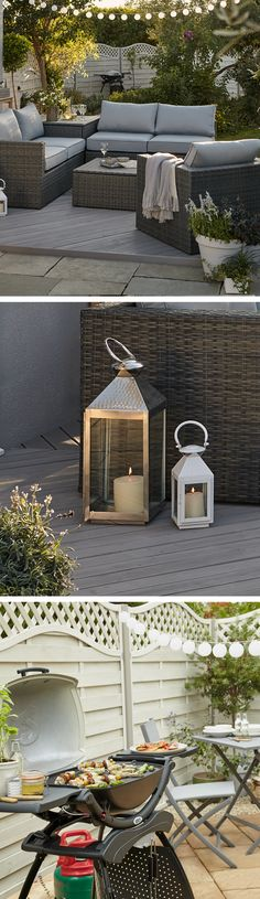 The easiest way to add some Boho glam to your garden is with lighting. String fairy lights over a comfy seating area, line pathways and divide areas with lanterns, and add some solar lights to your fence for when you get the barbecue out! Backyard Seating, Outdoor Seating, Backyard Patio, Outdoor Spaces, Outdoor Living, Outdoor Decor, Backyard Ideas, Patio Ideas, Fence Ideas