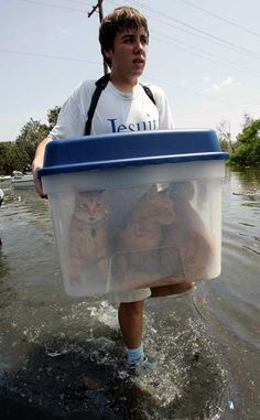 Evacuating after Katrina... if we ever have an emergency like this I will do this! Maybe add more ventillation.