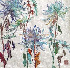 Blue Crysanthemums. Art by Sofía Perina Miller