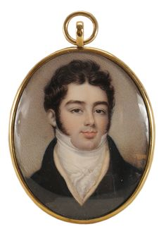 Attributed to Charles John Robertson  (British, born circa 1779) Portrait Miniature of a Gentleman, wearing a blue coat, cream-colored waistcoat, unsigned, watercolor on ivory, 2-3/4 x 2-1/4 in.; gold-plated locket frame