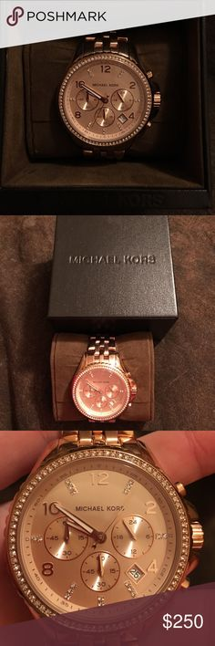 Michael Kors Rose Gold Stainless Steel Women Watch Sparkling crystals rim a round oversized case on a show-stopping watch. Function meets fashion as the mother-of-pearl dial provides a polished backdrop to a three-eye chronograph feature and date window. Rose gold-plated stainless steel case and bracelet. Swarovski crystals surround the bezel. Mother of pearl dial. Quartz movement. Date. Chronograph. Case 44mm. Brand new in box, comes with extra links. Michael Kors Accessories Watches