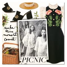 """Picnic in the Park V"" by vampirella24 ❤ liked on Polyvore featuring Gucci, Picnic Plus, Nick Fouquet, floral, picnic, gucci, contestentry and polyvorecontest"