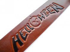Handmade leather bracelet, Helloween, tooled leather, hand painted