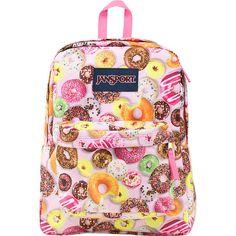 JanSport Superbreak Backpack - Multi Donuts - School Backpacks (73.750 COP) ❤ liked on Polyvore featuring bags, backpacks, pink, padded bag, knapsack bag, day pack backpack, handle bag and daypack bag