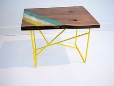 Awesome wooden table yellow legs and colored finish