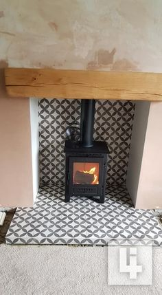 Wood Stove Surround, Wood Stove Hearth, Wood Burner Fireplace, Home Fireplace, Living Room With Fireplace, Living Room With Stove, Fireplace Hearth Tiles, Bohemian Living Rooms, Living Room Lounge
