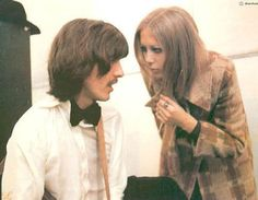 George Harrison and Pattie Boyd during 'Let it Be' sessions, 1969