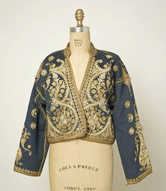 Jacket Date: ca. 1900 Culture: Turkish Medium: wool, cotton, metal Dimensions: Length at CB: 20 3/8 in. (51.8 cm)