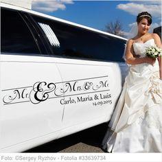 Autoaufkleber Hochzeit Mister and Misses und kleiner Mr.