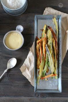Vegetales en tempura con dip de soja