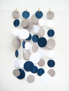 Navy Blue Gray and White Paper Garland. Such a cute, affordable decoration idea.