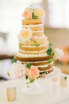naked wedding cake - photo by Elizabeth Fogarty http://ruffledblog.com/romantic-vintage-inspired-wedding-in-maryland #weddingcake #nakedcake
