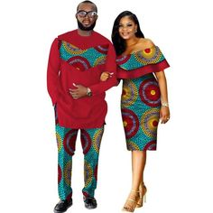 African Style Clothing Family Couple Man Shirt-Pnts Woman Dress Dashiki Cotton Wax – African Fashion Dresses - African Styles for Ladies Couples African Outfits, Couple Outfits, African Attire, African Wear, African Dress, African Style, African Women, Emo Outfits, African Fashion Designers
