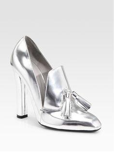 Alexander Wang Anais Metallic silver tasseled High-Heel Loafers