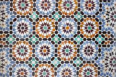Tile work at the Ben Youssef Madrasa in Marrakech, Morocco.