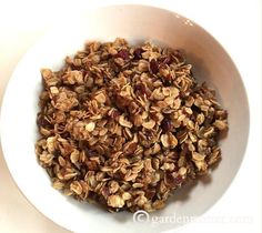 Homemade Granola Ingredients4 c Oats 3/4 c Butter (12 T) 2/3 c Brown Sugar 2 T Honey 2 T Cinnamon 1 c Pecans (chopped) 1 c Craisins (chopped)InstructionsMelt butter, brown sugar and honey on low heat. When it starts to bubble, mix in the cinnamon, nuts and cranberries. Then add the oats and mix well....[ReadMore]