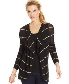 Charter Club Striped Mesh Drape-Front Cardigan